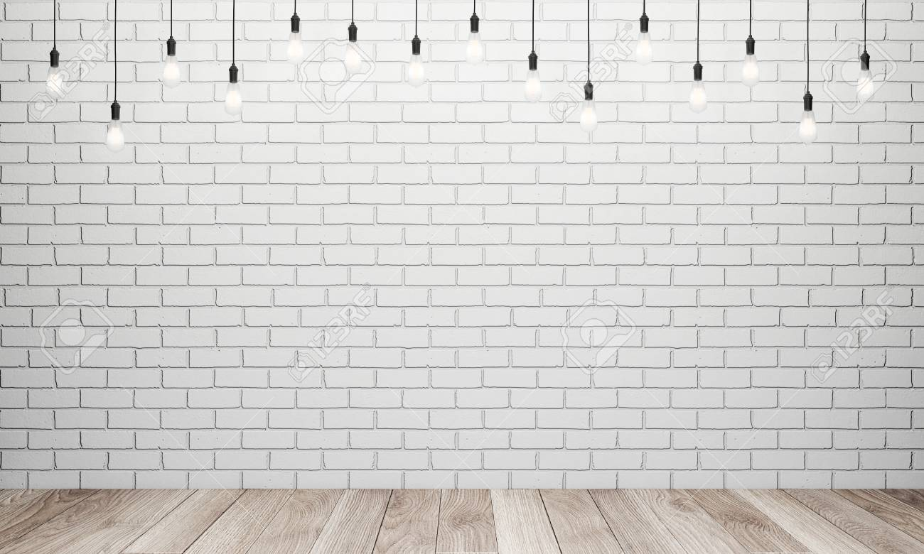 Retro Light Bulbs In Interior With White Brick Wall And Wooden Stock Photo Picture And Royalty Free Image Image 56938504