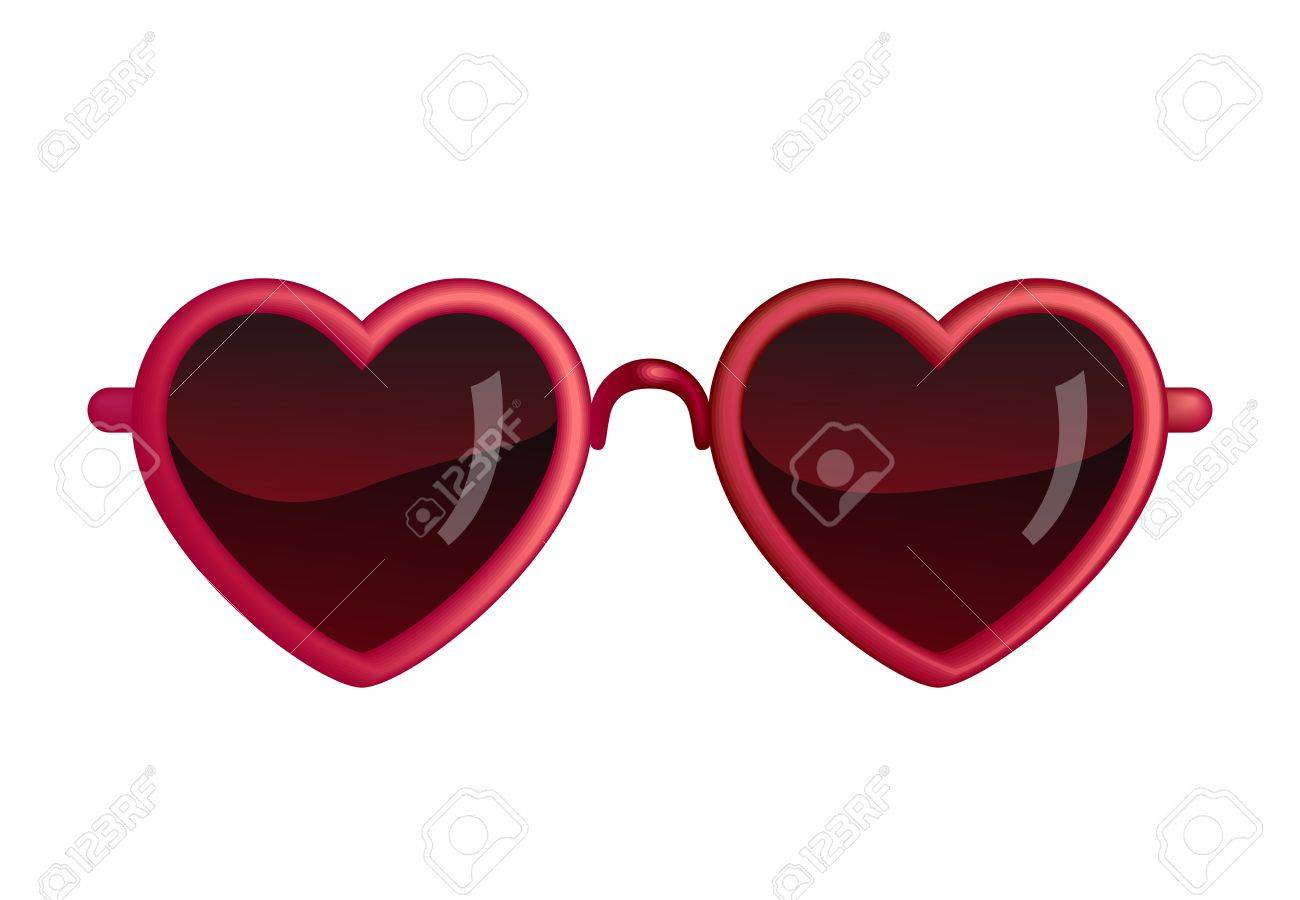 Heart Sunglasses Isolated On White Stock Vector - 23007895