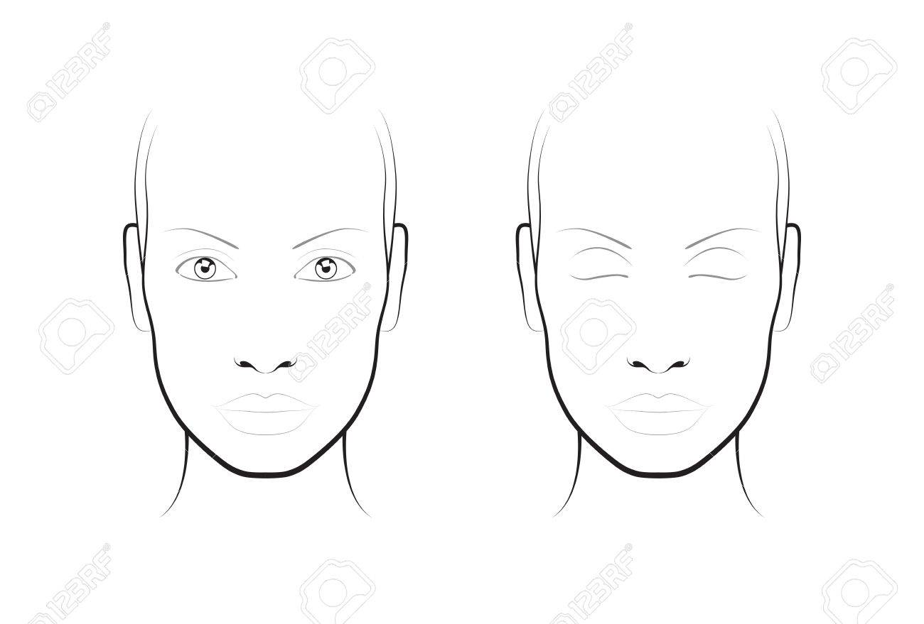 Young Woman. Face Chart Makeup Artist Blank. Template. Royalty Free ...