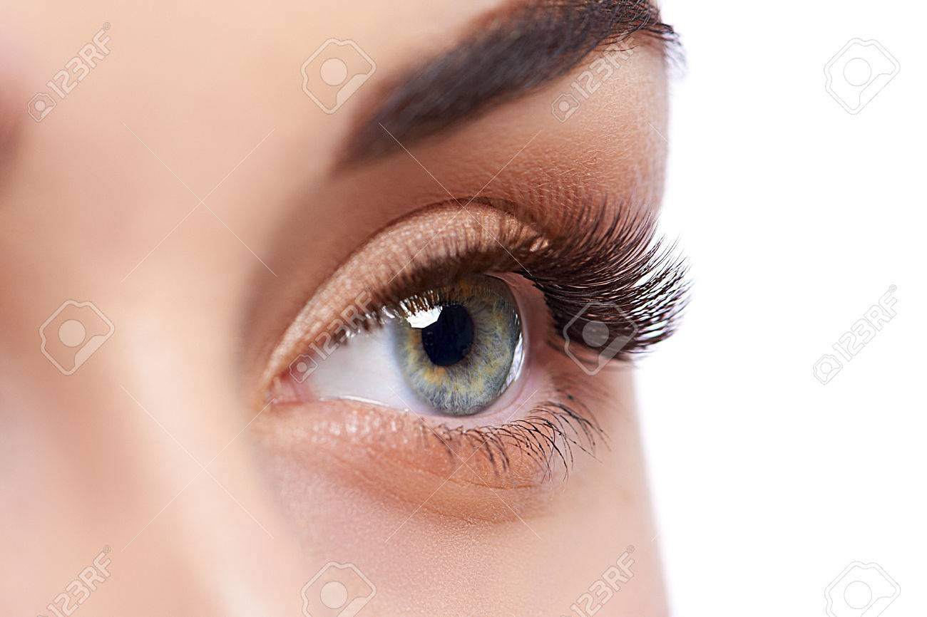 Closeup shot of female eye with day makeup - 70731665