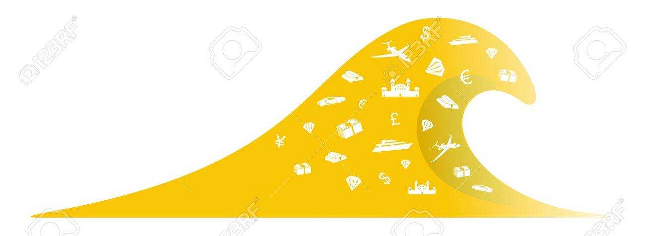Wave of expensive things rich people, millionaires, billionaires Stock Vector - 16978662