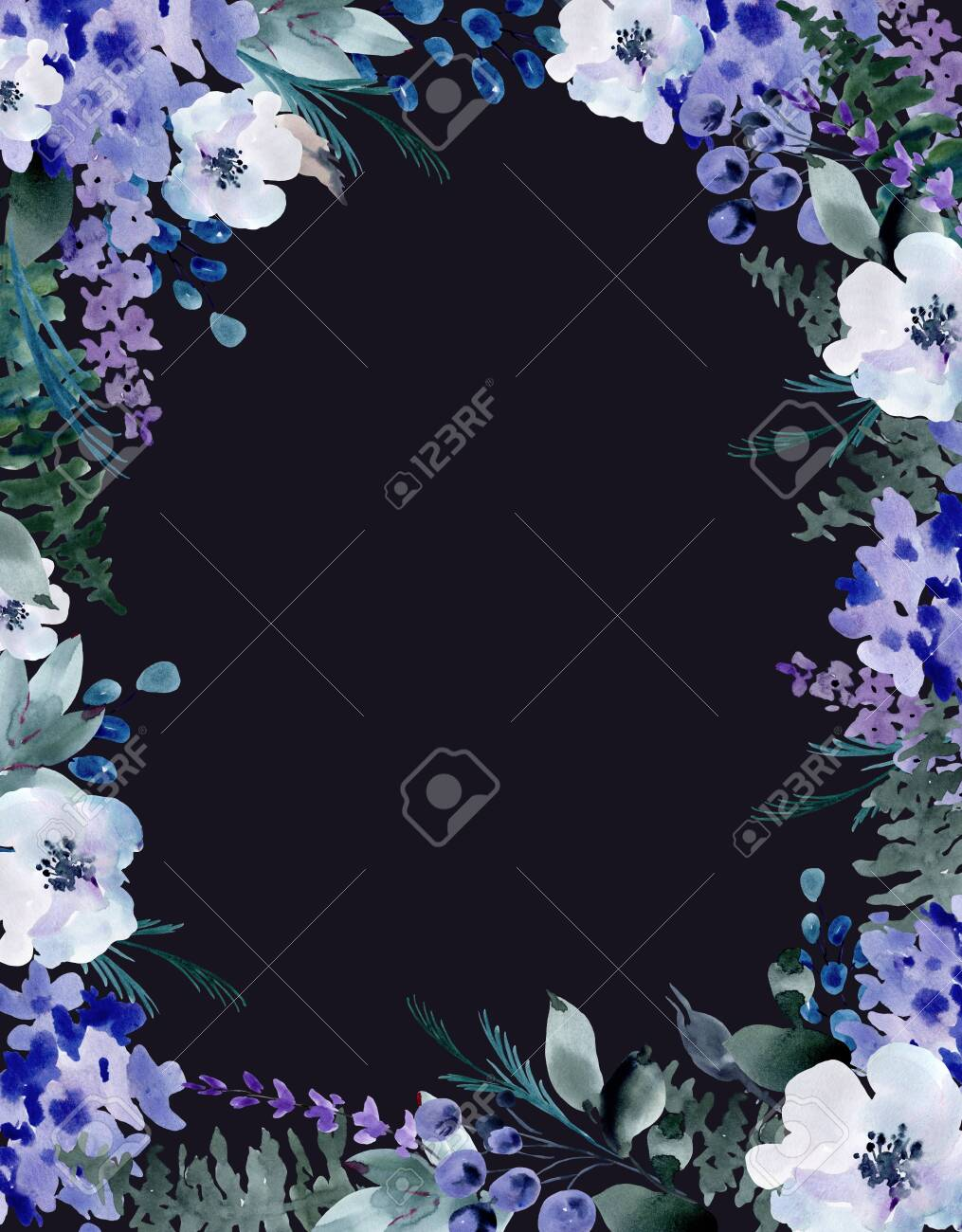 Summer Blue Watercolor Floral Greeting Card Wedding Bouquet Stock Photo Picture And Royalty Free Image Image 136710678