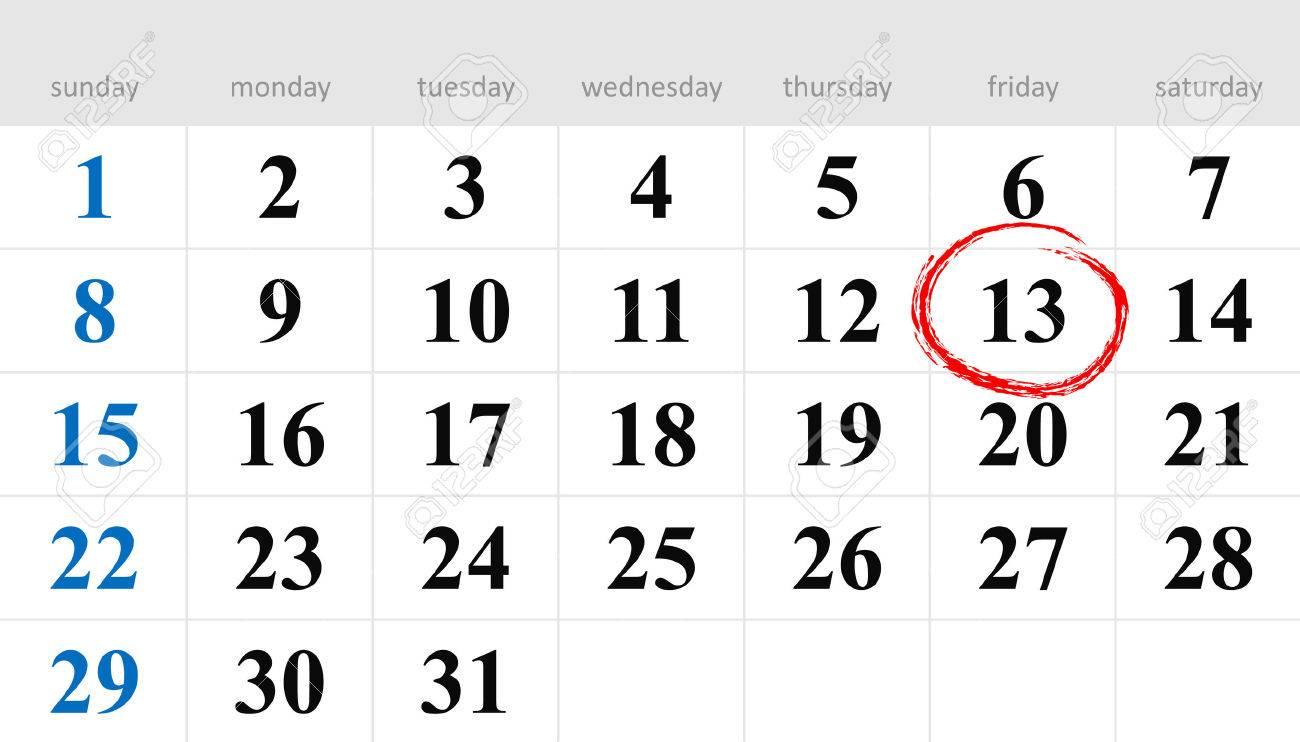 calendar with sunday circled