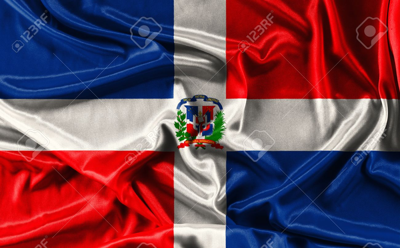 Flag Of Dominican Republic Waving Fabric Background Wallpapers Close Up Stock Photo
