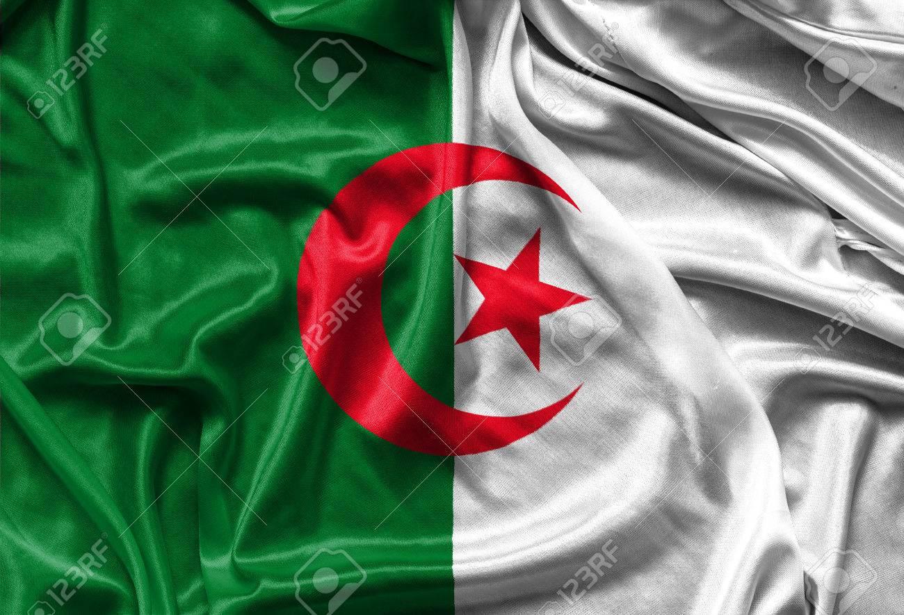 Fond D Écran Algerie gros plan du drapeau algérien soyeux - agitant tissu de fond, fonds