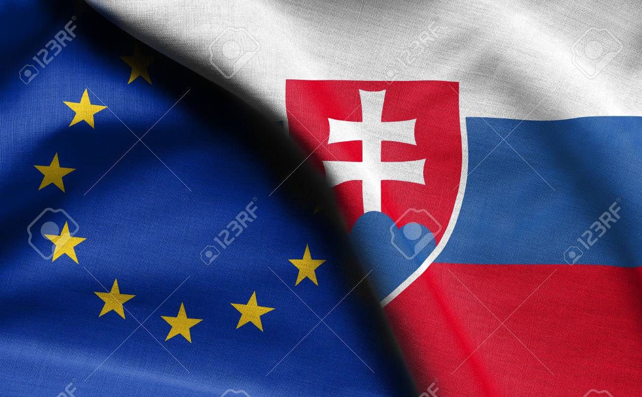 0cfd92106c Flags of Slovakia and european union Stock Photo - 99624123