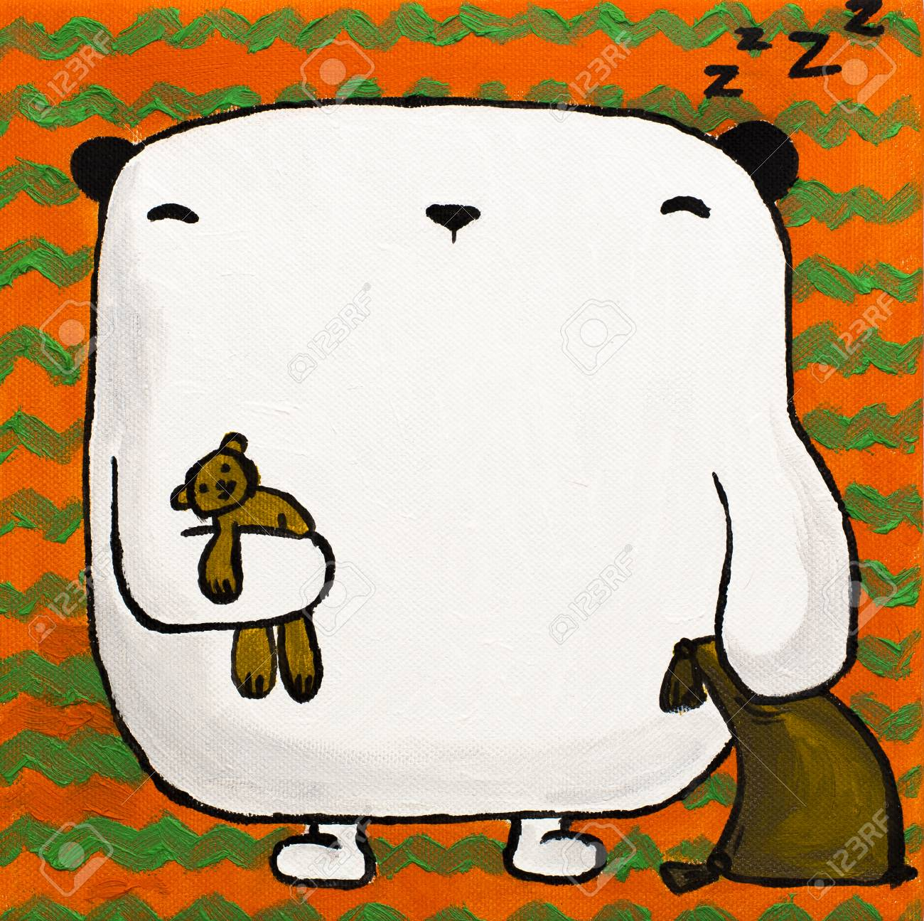 Illustration Acryl Weißen Teddybären Schlaf Mit Kissen Und Spielzeugbären  Unter Der Pfote Auf Einem Orangefarbenen Hintergrund