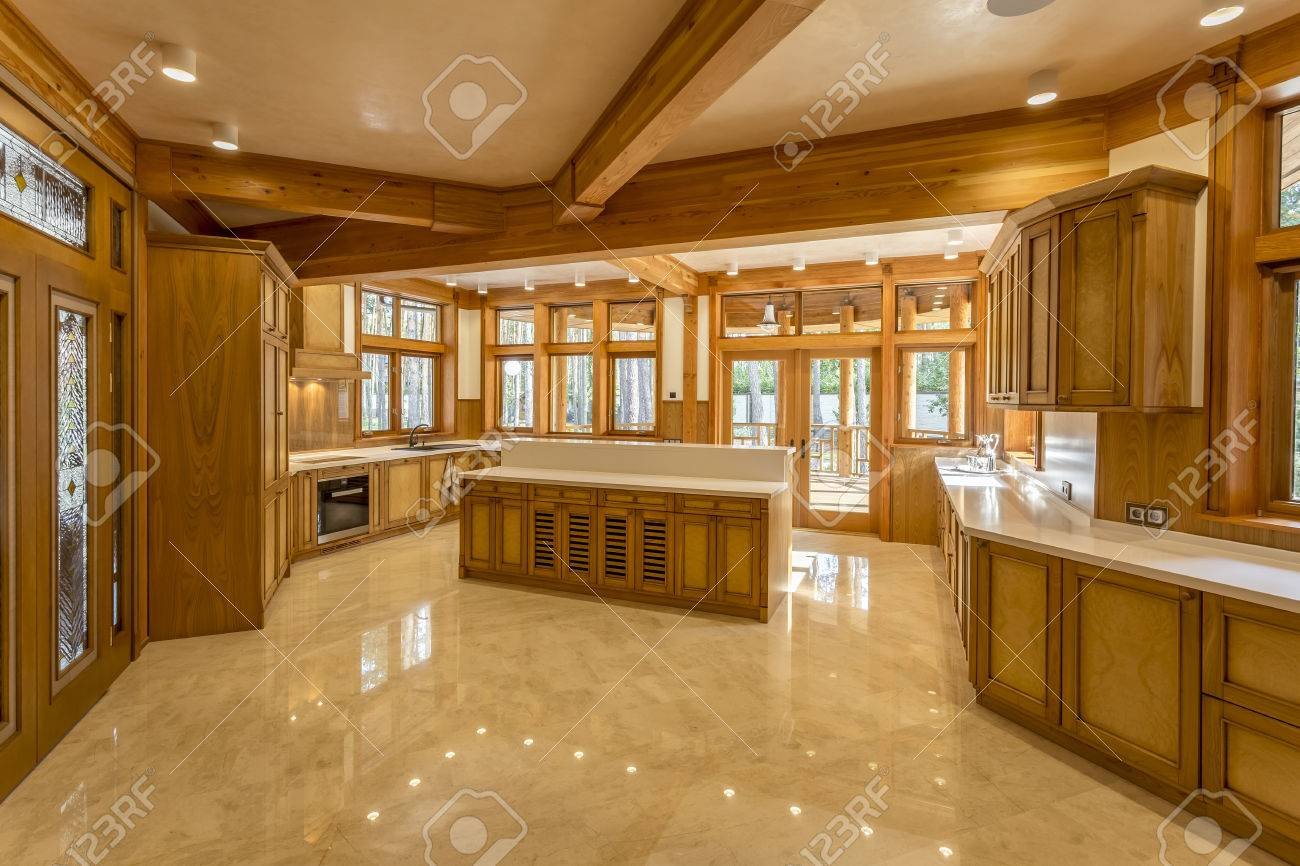 House And Garden Kitchens Large Kitchen Made Of Wood In Eco House Kitchen Furniture And