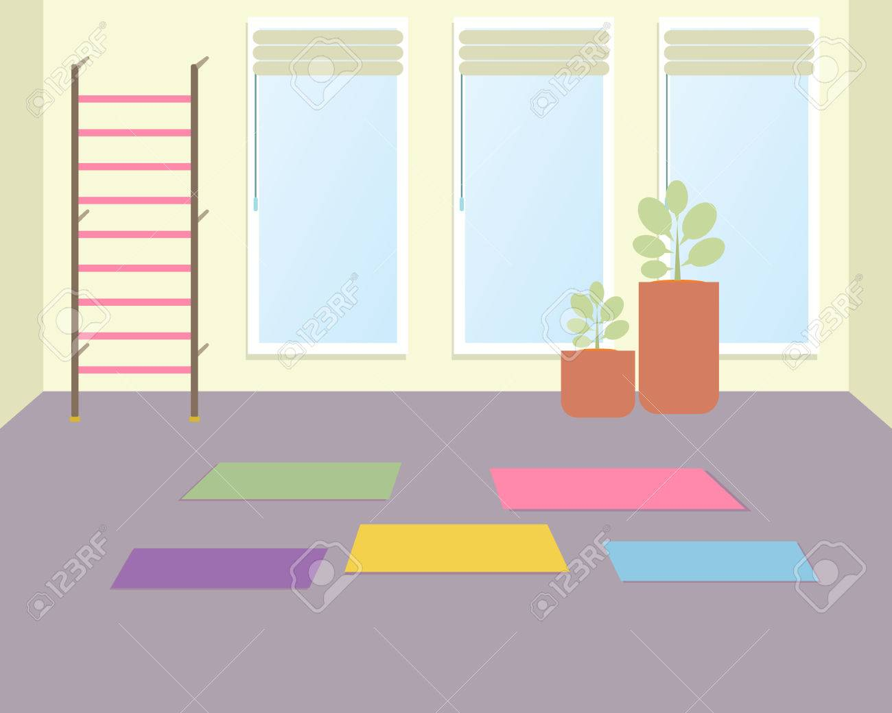 Empty Workout Room With Sleeping Pads A Vector Illustration Of Yoga Class For Kids