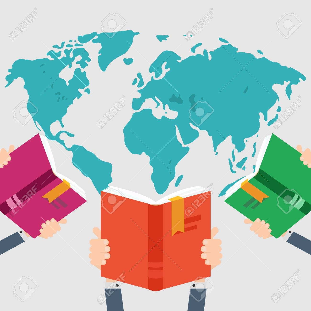 Three books in hand on world map background knowledge education three books in hand on world map background knowledge education flat concept vector gumiabroncs Choice Image