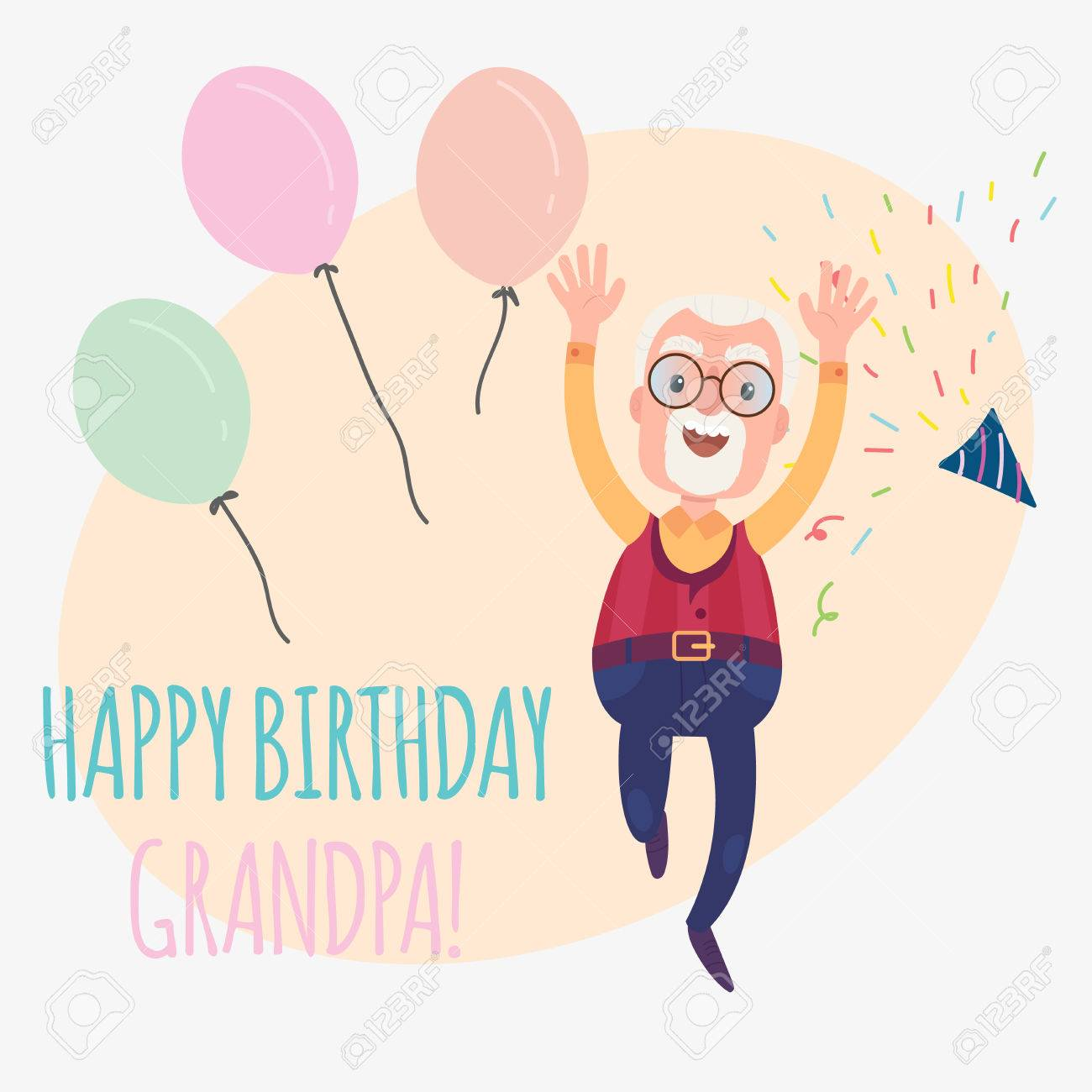 Happy Birthday Grandfather Funny Card With Confetti And Balloons Vector Illustration Stock