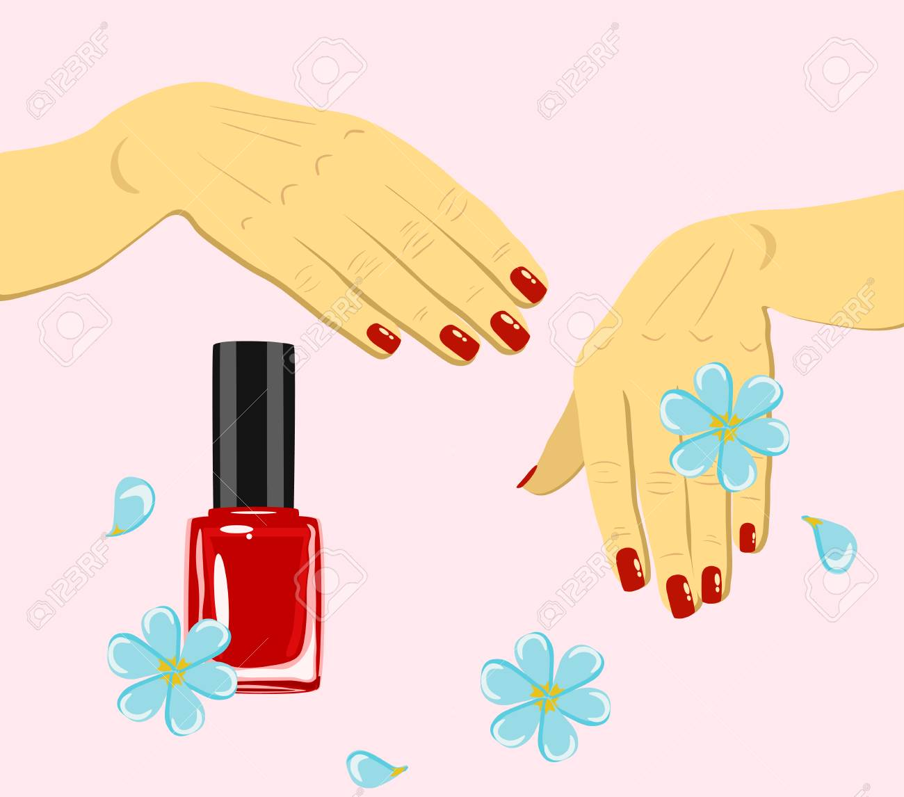 Vector Woman Hands With Red Fingernails And Nail Polish With ...