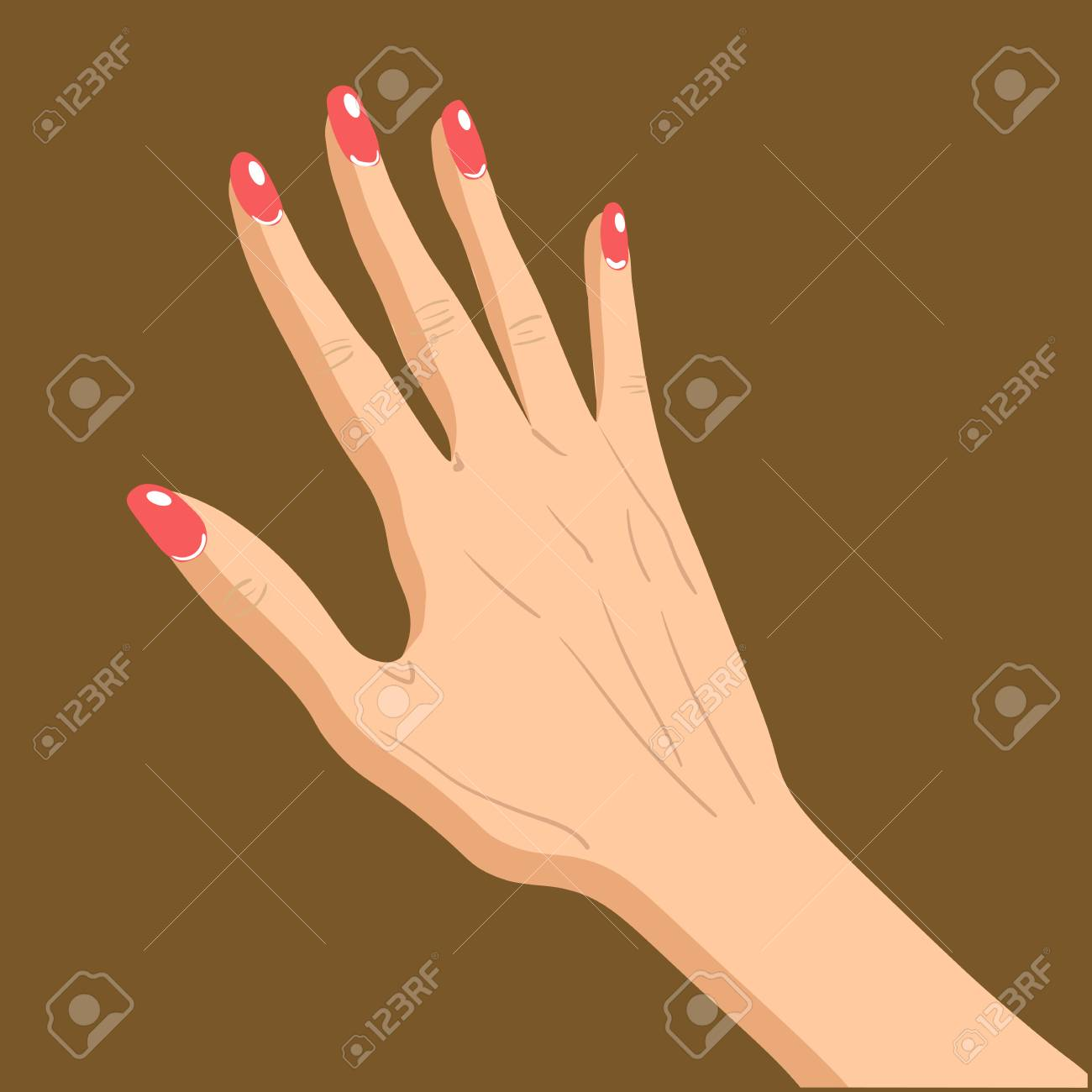 Beautiful female hand specifies by gesture isolated on brown background - 125654072