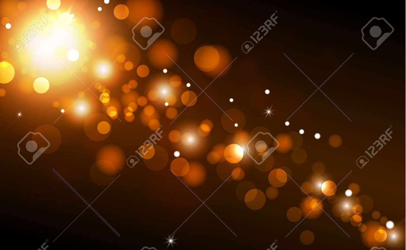 Bright bokeh with highlights on a dark background - Illustration - 158586312