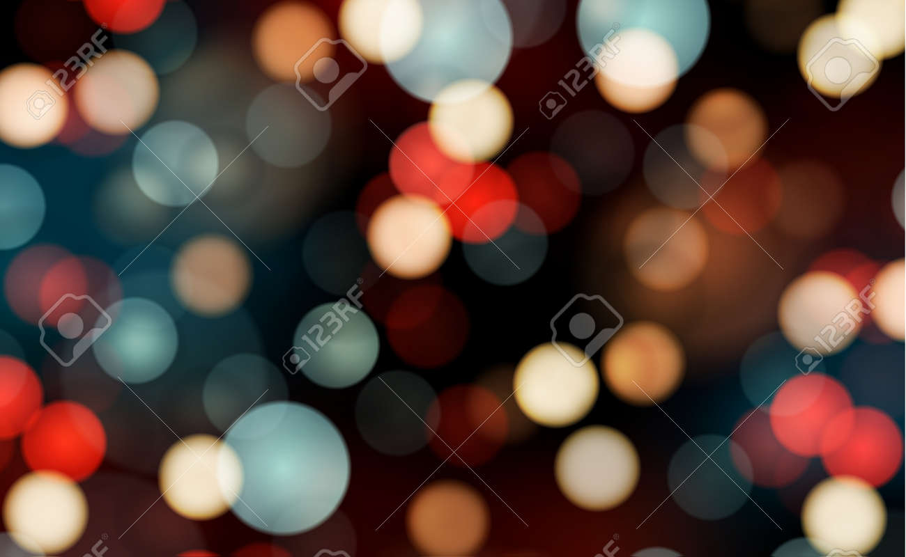 Bright bokeh with highlights on a dark background - Illustration - 158586428