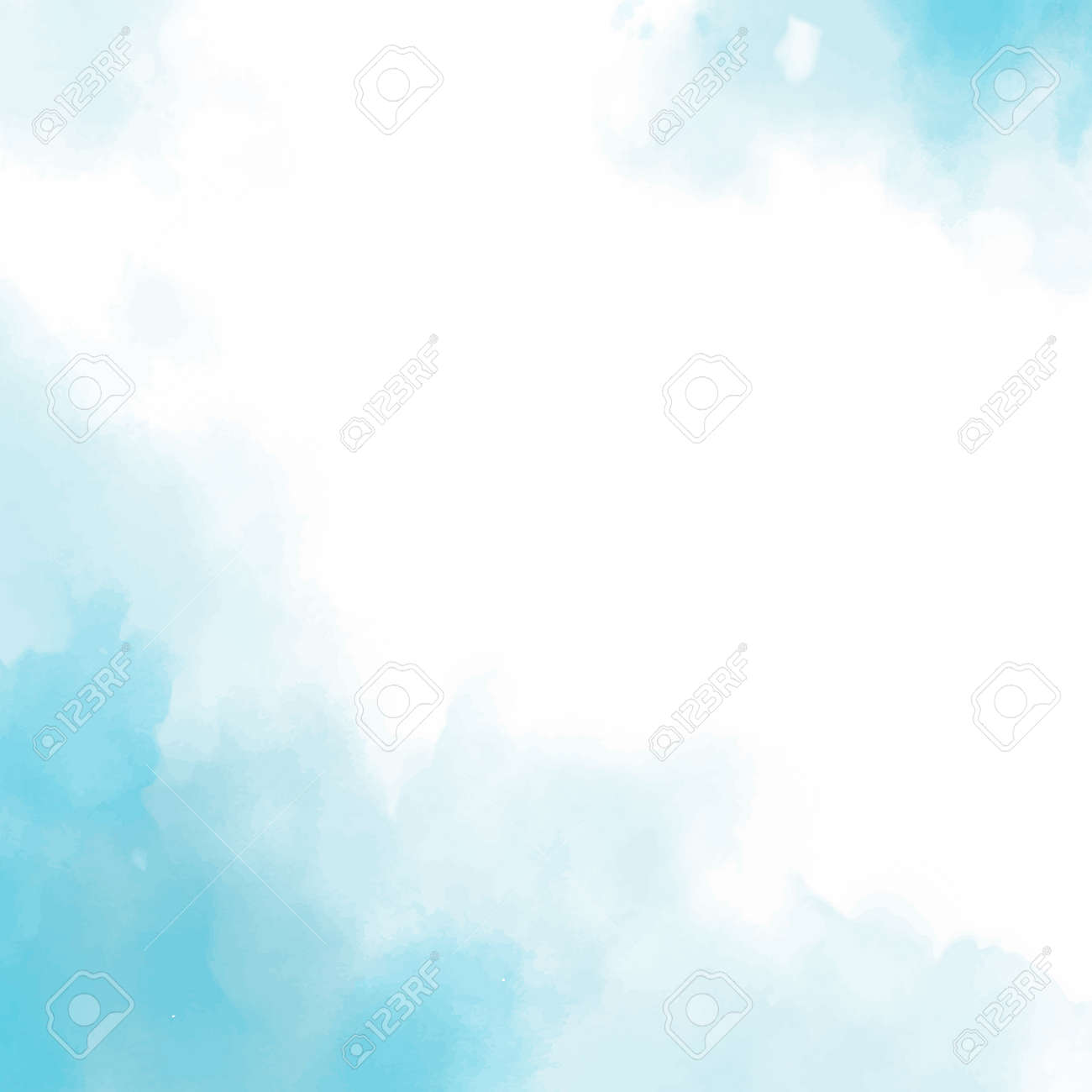 Realistic blue watercolor panoramic texture on white background - Vector illustration - 165750906