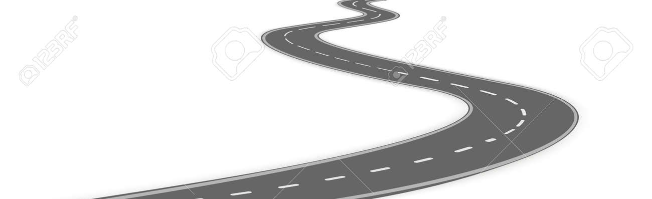 Realistic winding motor road stretching into the horizon - Vector illustration - 166994352