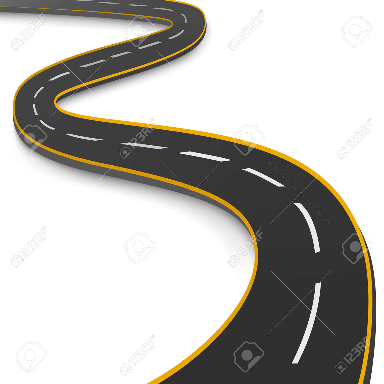Realistic winding motor road stretching into the horizon - Vector illustration - 166943272
