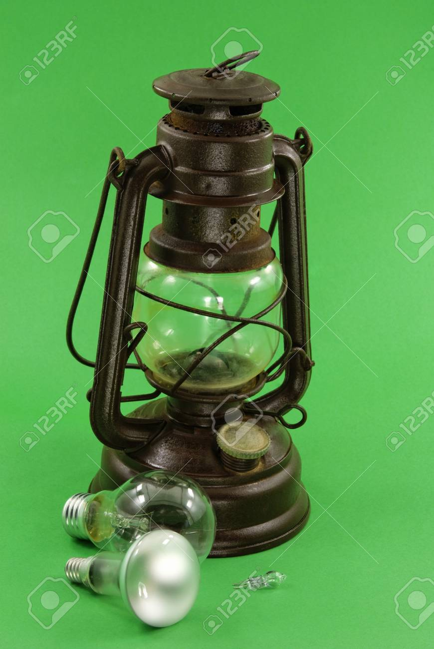 Picture of: Old Kerosene Lamps And The New Incandescent Lamps Spiral Lamps Stock Photo Picture And Royalty Free Image Image 4391435