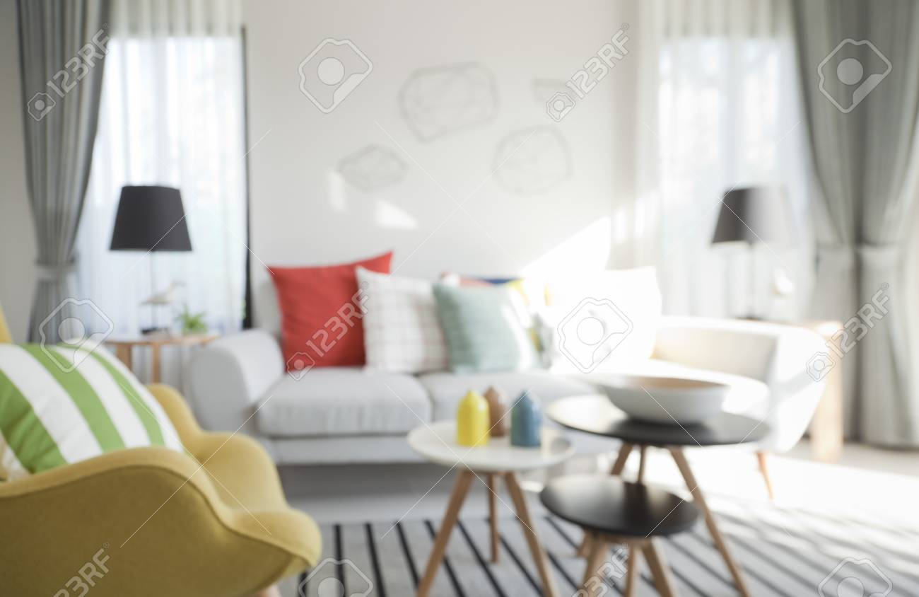 Blurred Modern Living Room With Retro Filter Stock Photo, Picture ...