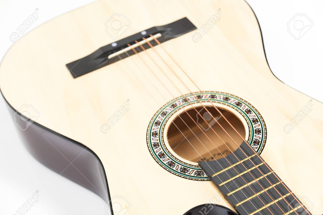 Color Photo Of Acoustic Guitar On White Background Stock Photo