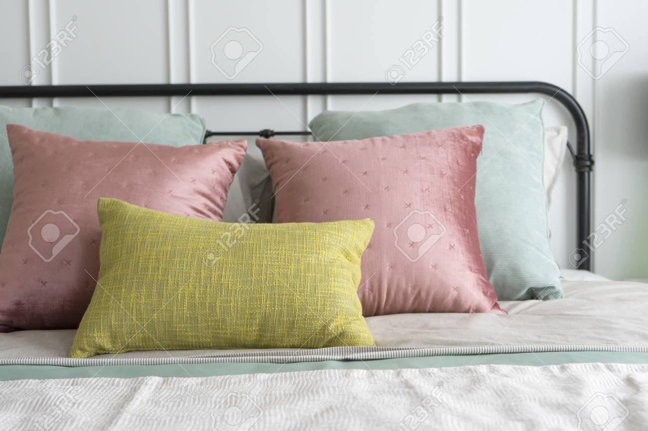 Modern Furniture In A Cozy Minimalist Bedroom With Pastel Pink Stock Photo Picture And Royalty Free Image Image 96639009