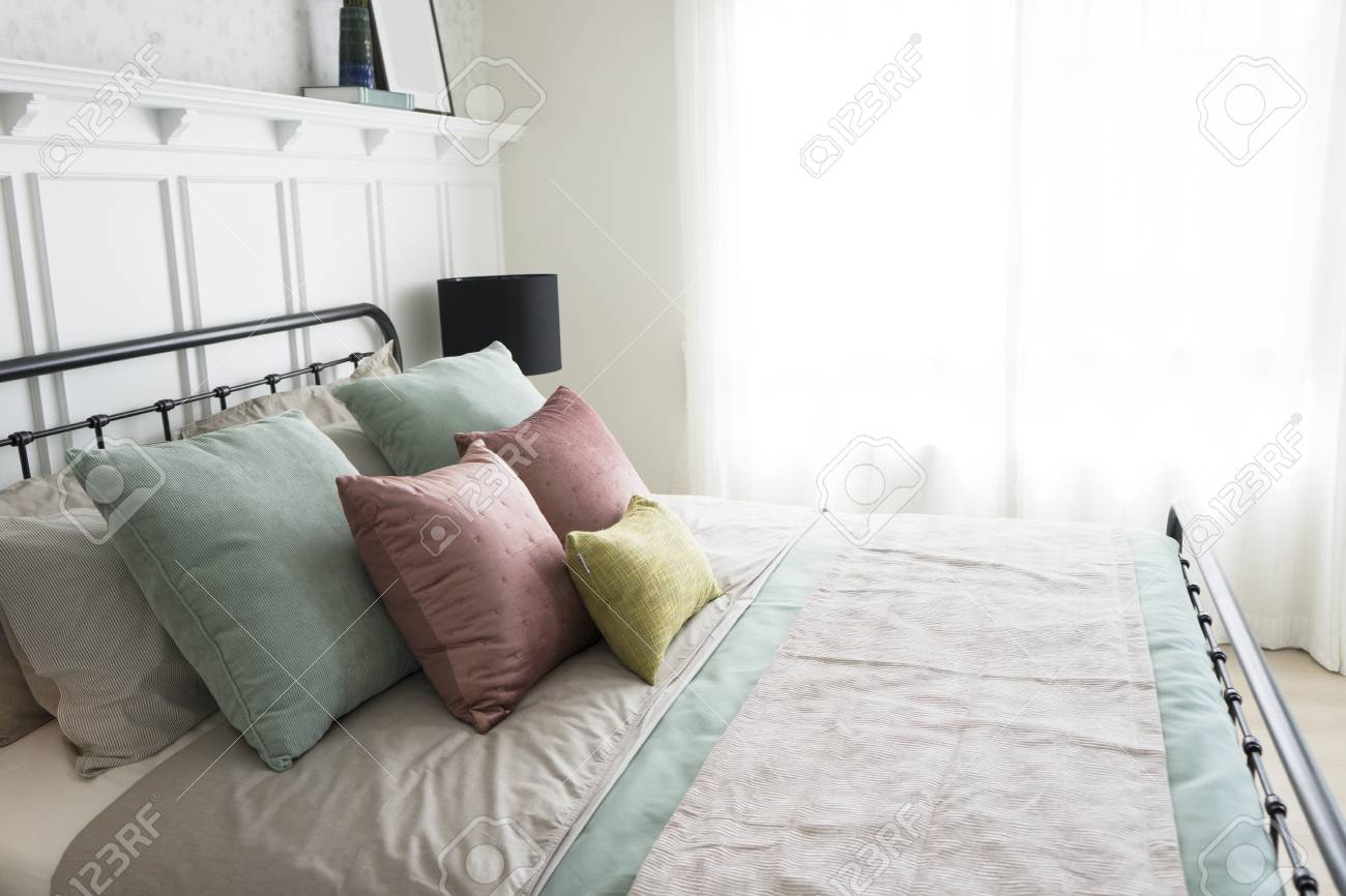 Modern Furniture In A Cozy Minimalist Bedroom With Pastel Pink Stock Photo Picture And Royalty Free Image Image 96639015