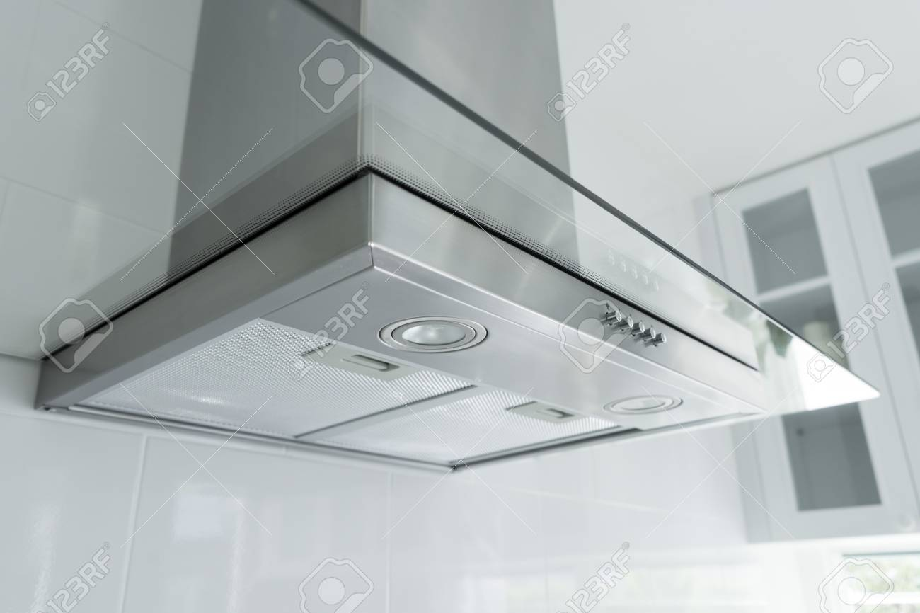 Metal Cooker Hood Extractor Fan With Spotlight In Luxury Kitchen Stock Photo Picture And Royalty Free Image Image 99347662