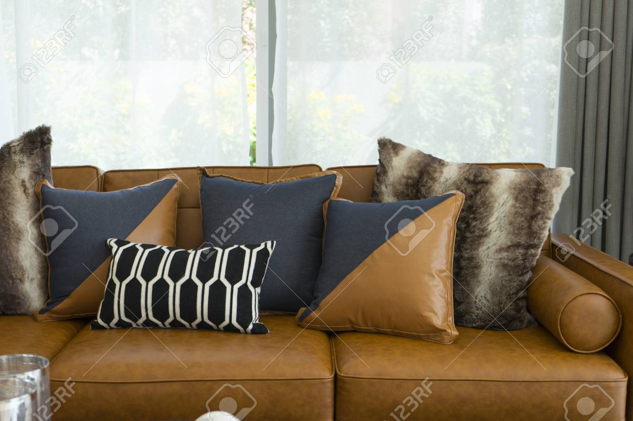 Terrific Modern Decorative Pillow On Brown Leather Sofa In Living Room Machost Co Dining Chair Design Ideas Machostcouk