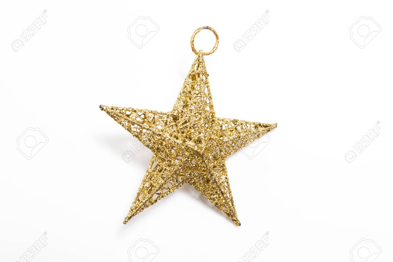 Golden Star For Decorated Christmas Tree On White Background