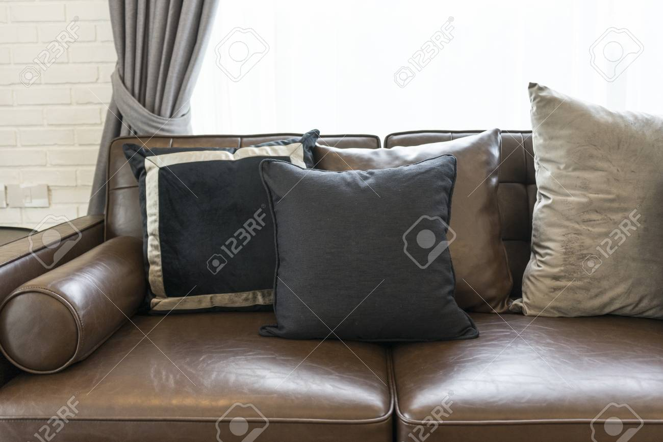 Luxury Black And Grey Pillow On Dark Brown Sofa In Living Room Stock Photo Picture And Royalty Free Image Image 108533264