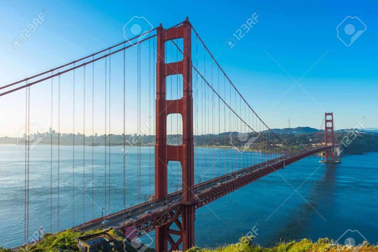 Golden Gate Bridge at sunrise and blue sky in San Francisco, USA - 126649736