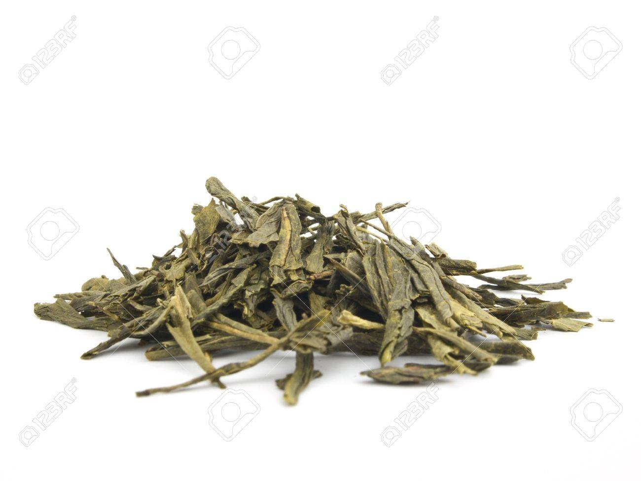 A pile of dried sencha green tea Stock Photo - 9575416