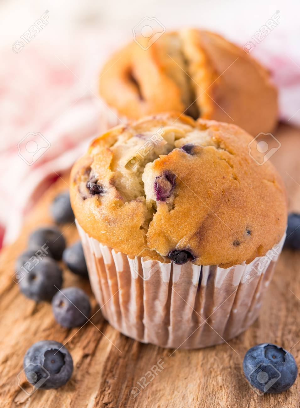 Blueberry muffins with a breakfast setting Stock Photo - 17468885