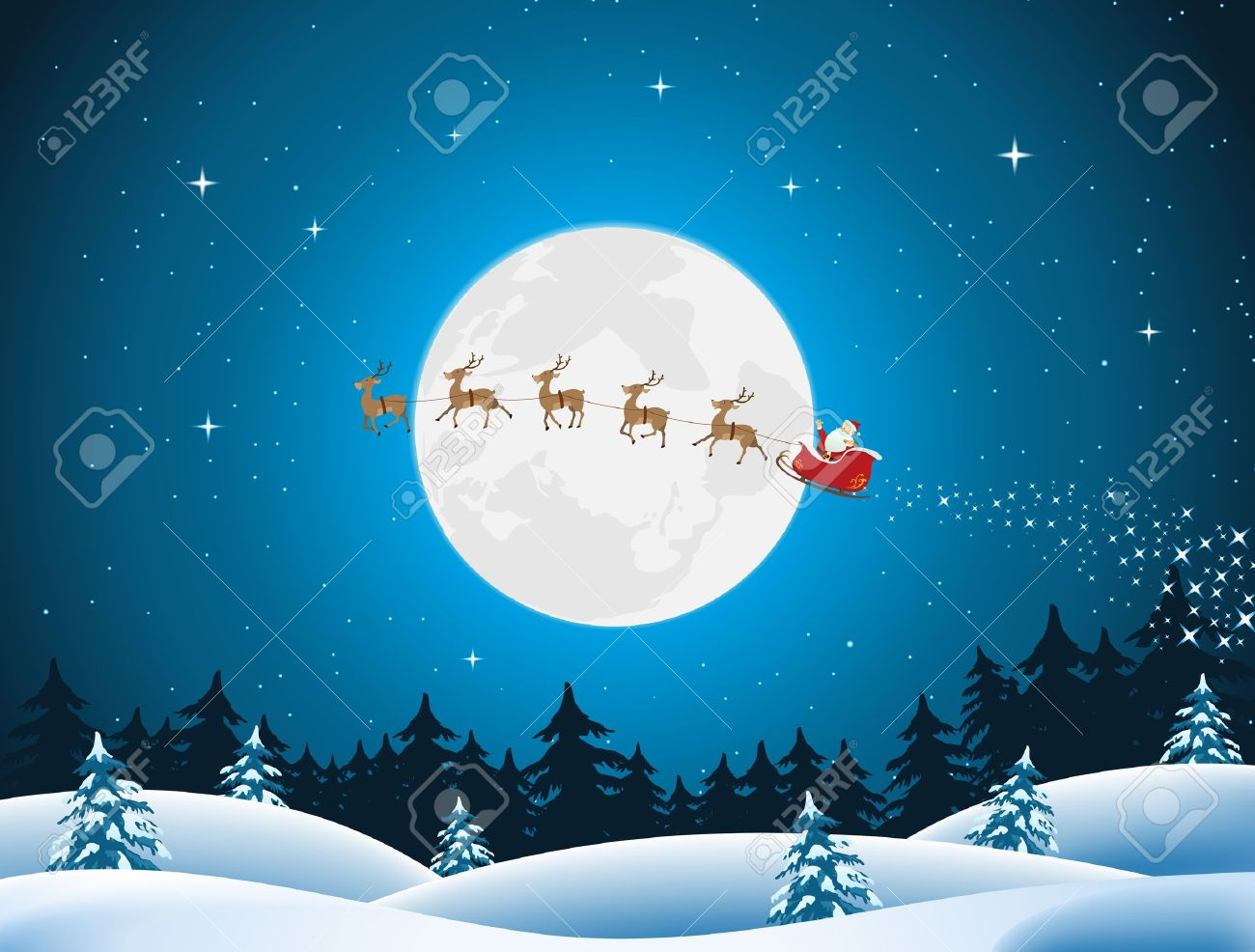 illustration of santa driving the sleigh and his reindeer through
