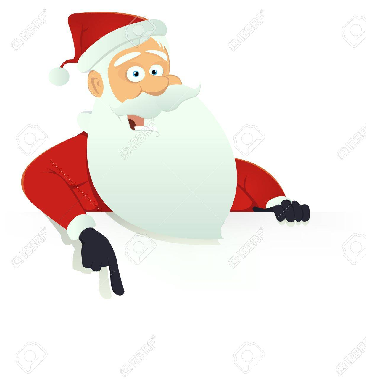 Illustration Of Santa Claus Character Holding Blank Sign For