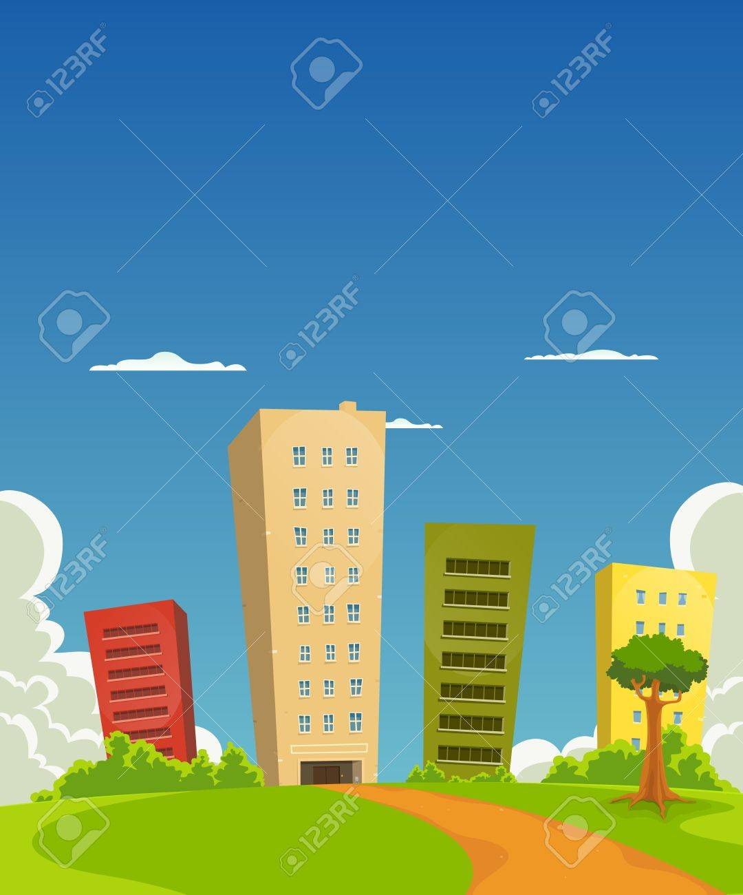 Illustration of a group of cartoon residential and office building tower Stock Vector - 11248558