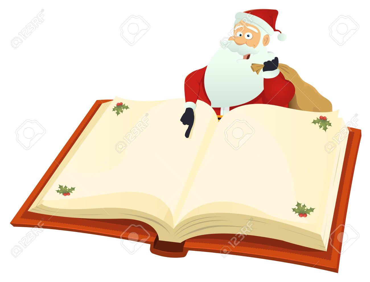 Illustration Du Pere Noel Avec La Liste De Noel Sur Un Livre