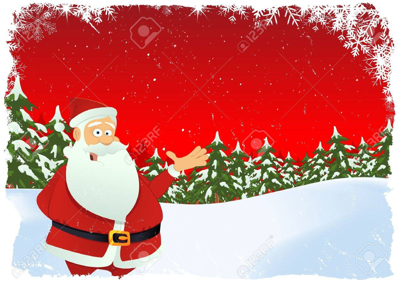 illustration of christmas card with santa claus chararcter and winter landscape stock vector 11248621 - Santa Claus Christmas Cards