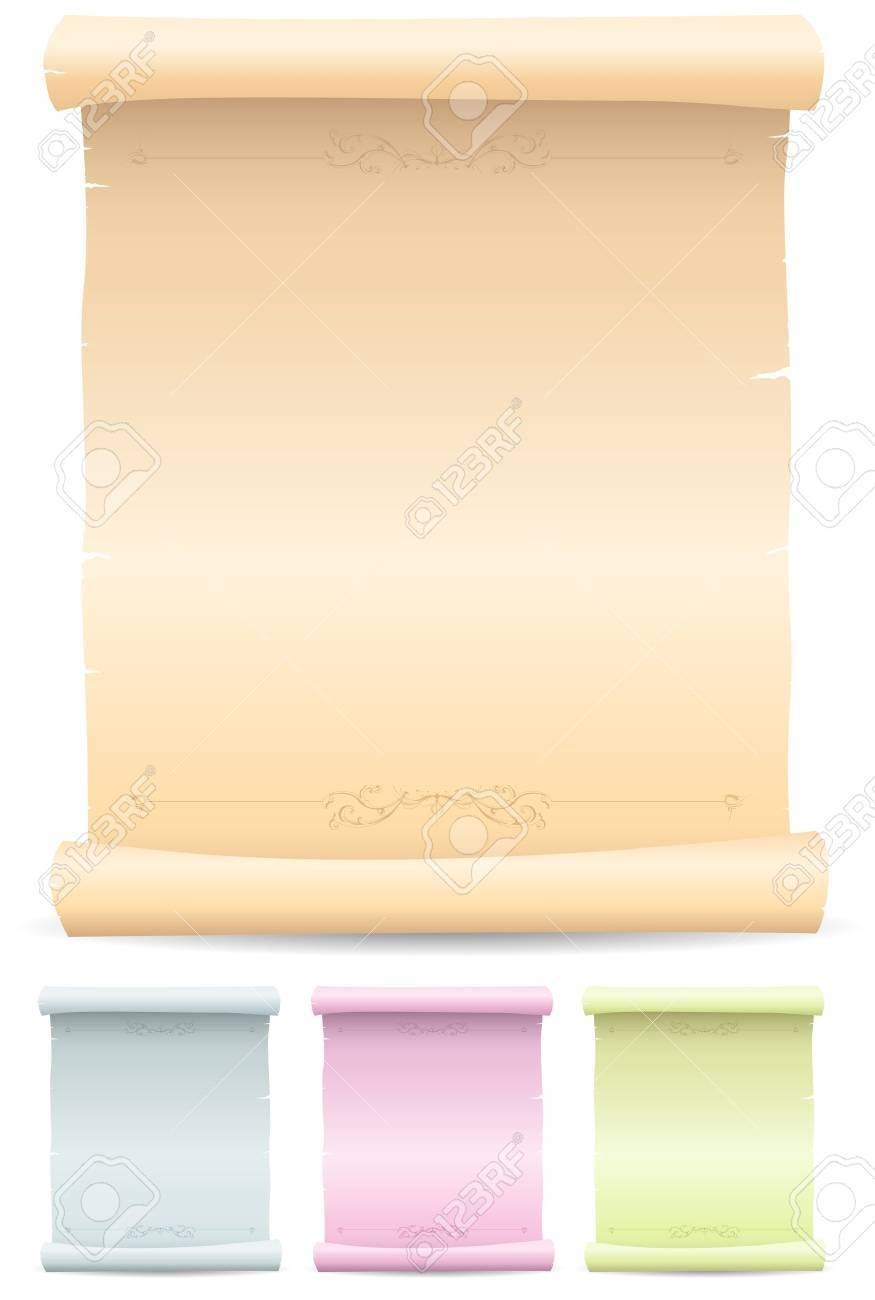 Illustration of a collection of old vintage medieval parchment scroll, one classical  and a blue, pink and green one Stock Vector - 11248606