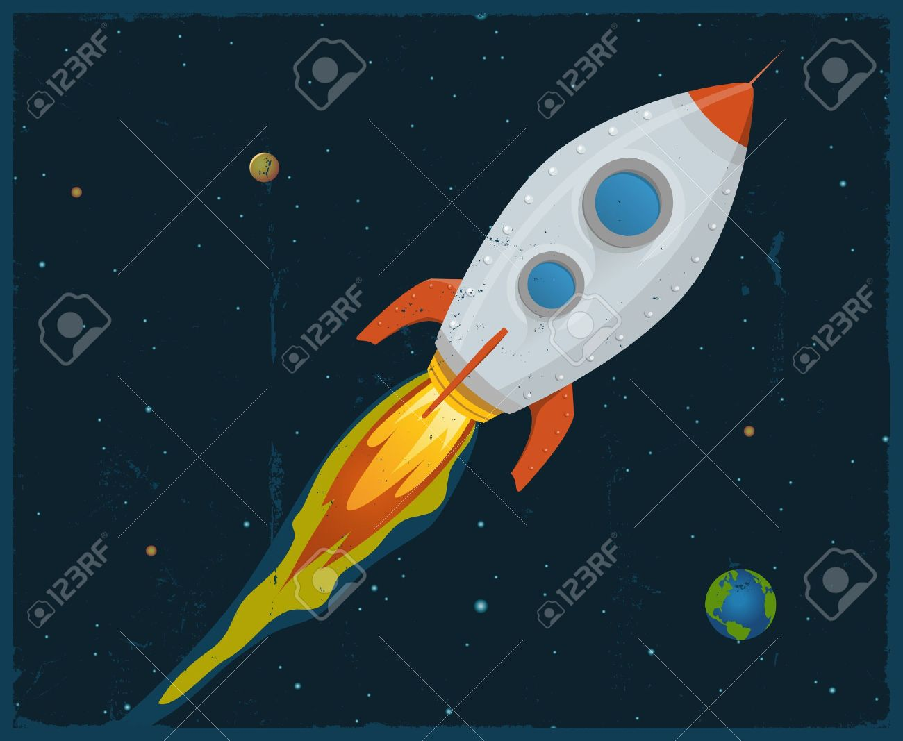 Illustration of a rocket ship flying through outer space Stock Vector - 11248637
