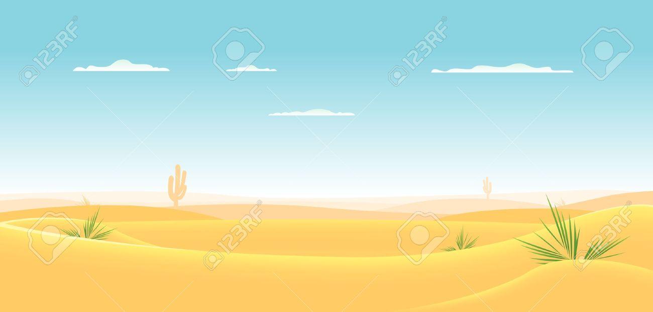 Illustration of a cartoon desert landscape going deeply toward horizon Stock Vector - 11248598