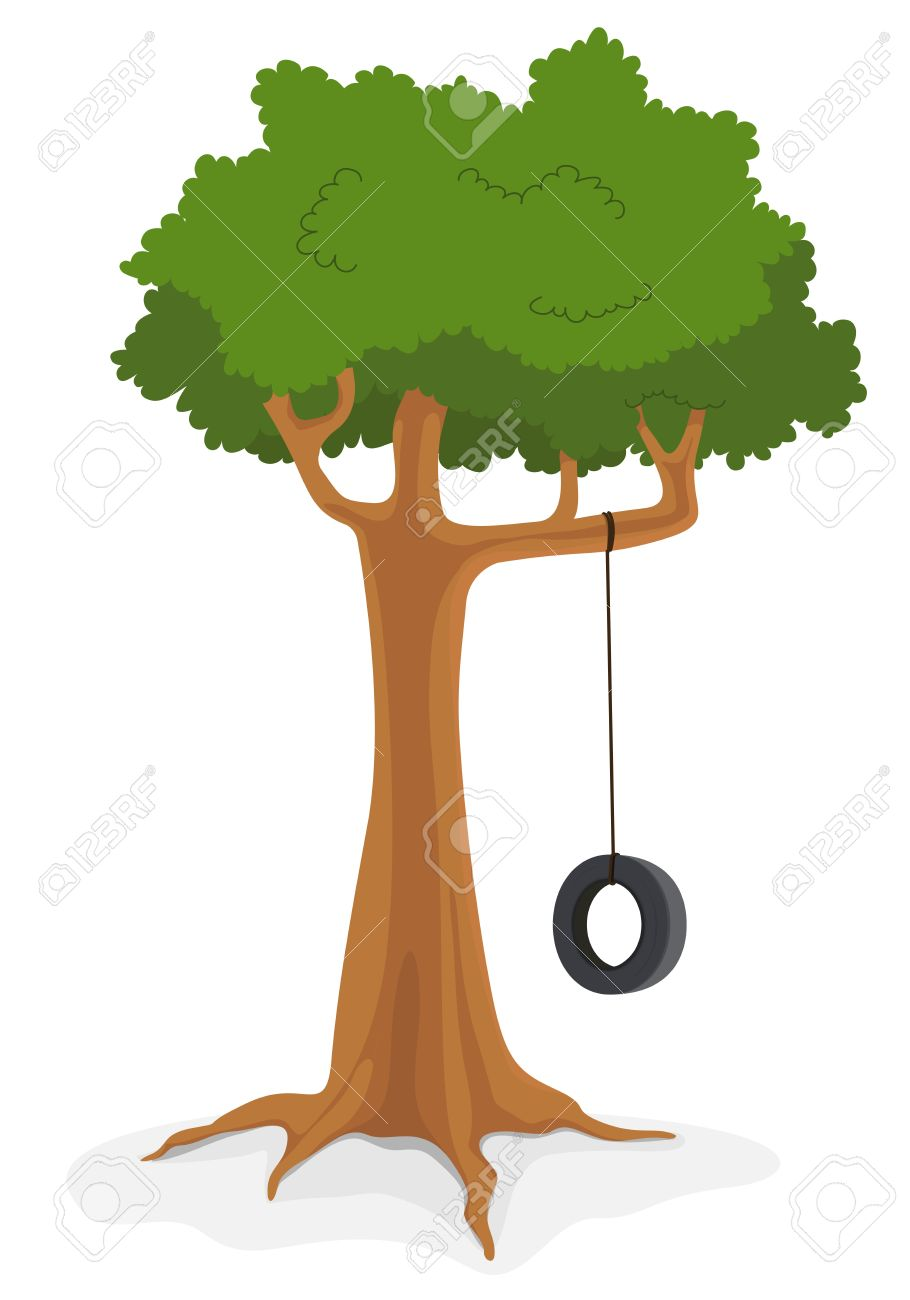 illustration of cartoon swing on a tree royalty free cliparts