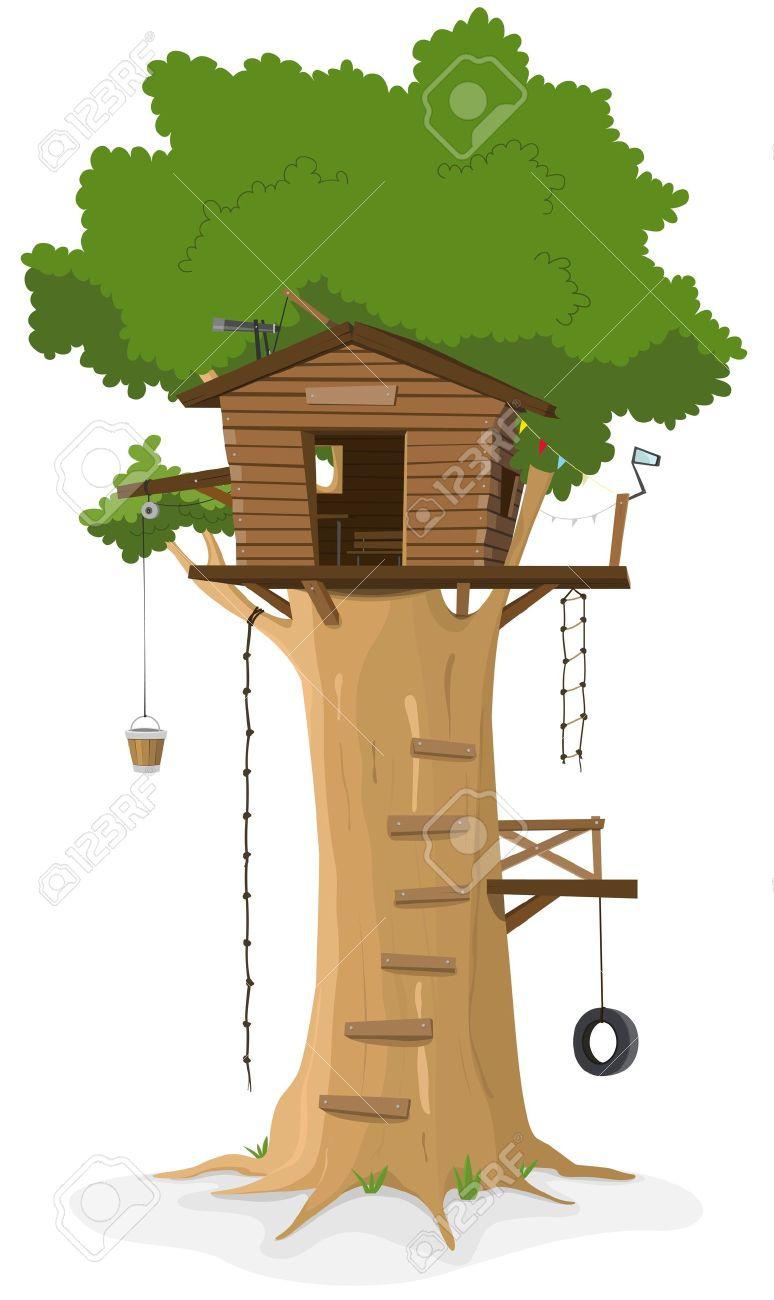 Banque dimages illustration dune maison dans larbre dessin animé en gros chêne isolé sur fond blanc
