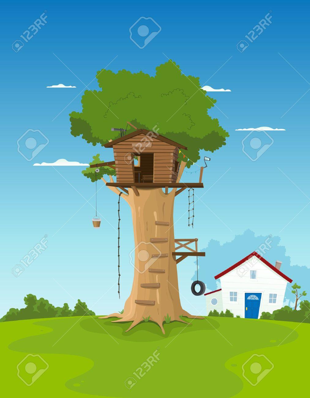 Banque dimages illustration dune maison dans larbre dessin animé en gros chêne à lintérieur de paysage de jardin