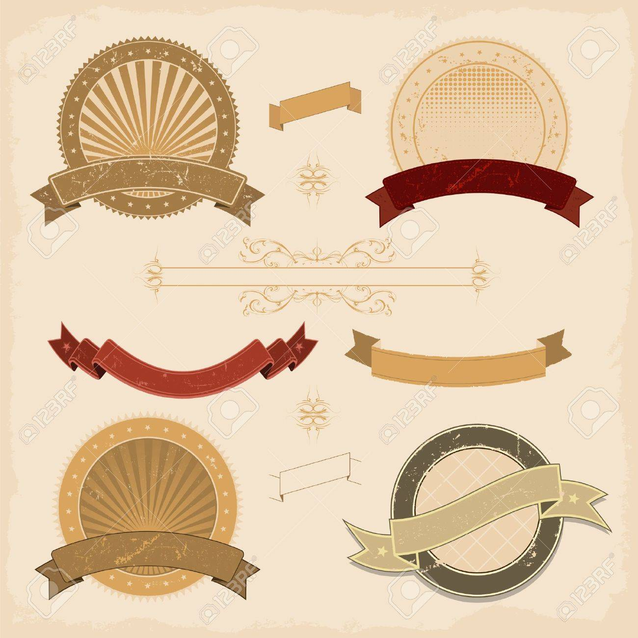 Illustration of a collection of design grunge vintage banners, labels, seal  stamper and icons Stock Vector - 11248640
