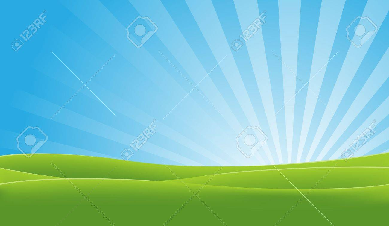 Illustration of a landscape in spring or summer season with fields and shiny sky at dawn - 11248599