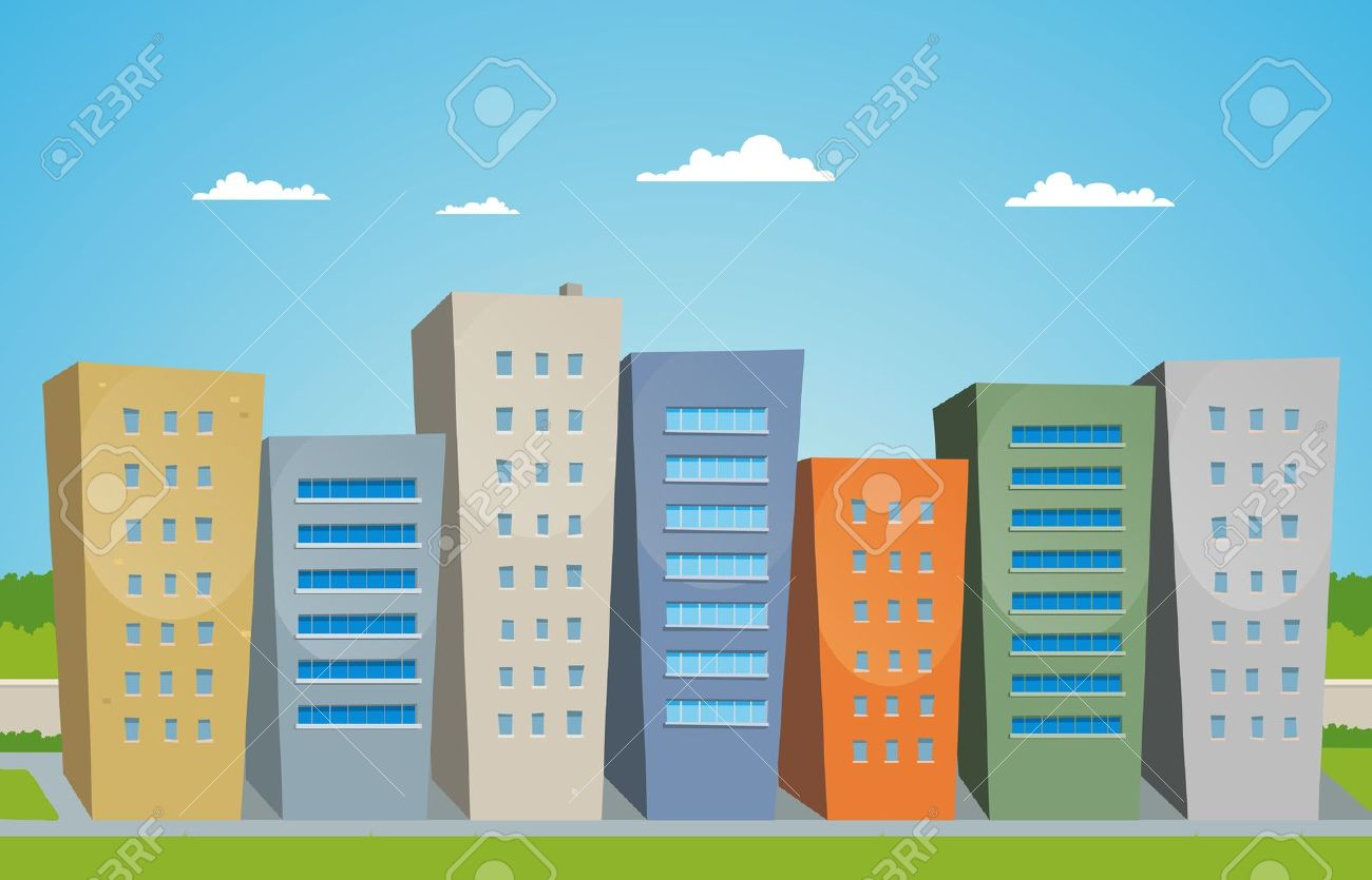 Illustration of cartoon styled street with buildings Stock Vector - 11248608