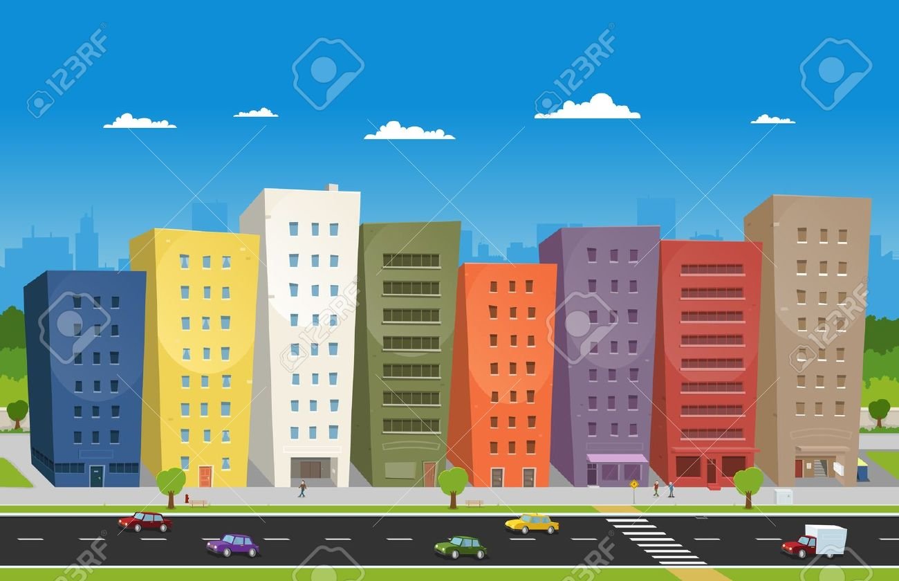 Illustration of a cartoon downtown scene with buildings, cars and some  characters on the pavement Stock Vector - 11248617