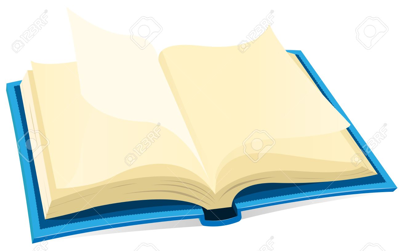 Illustration Of A Blue Covered Open Book With Blank Pages Royalty ...